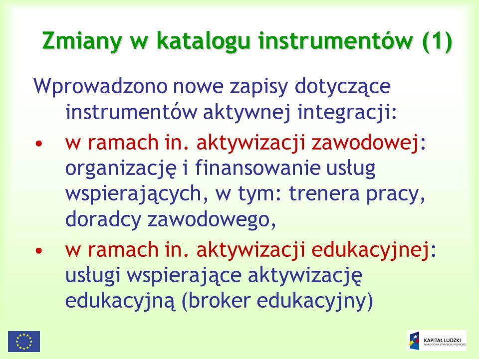 Zmiany w katalogu instrumentów (1)
