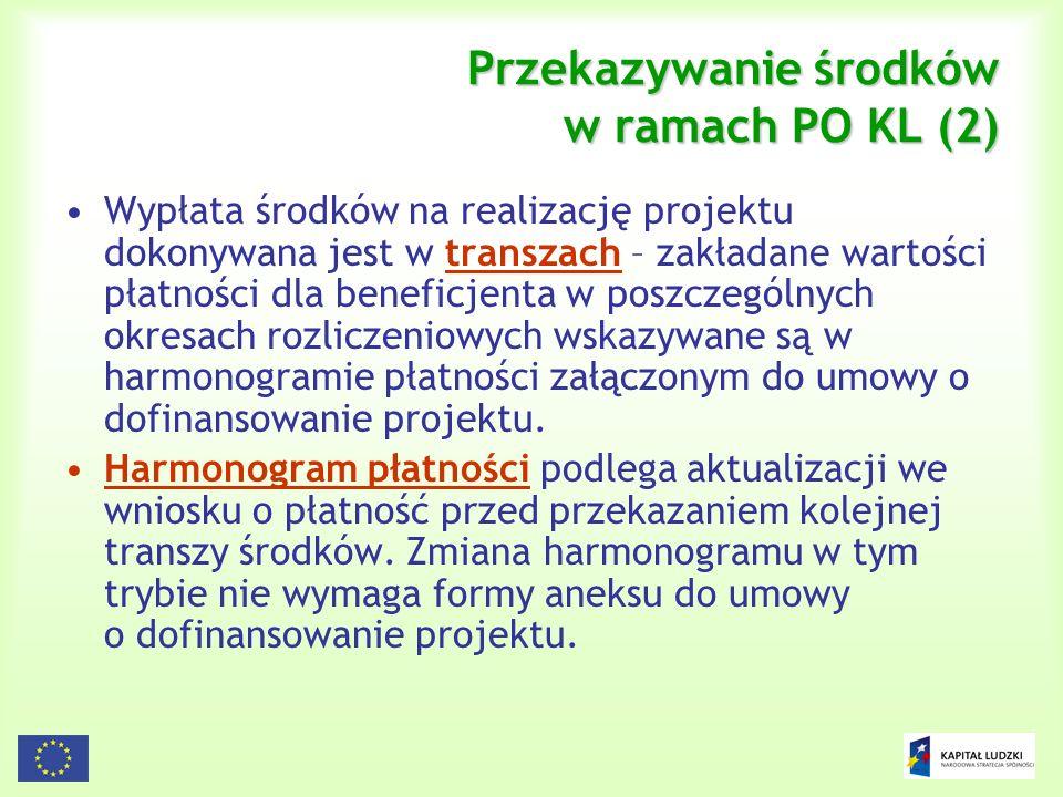 Przekazywanie środków w ramach PO KL (2)