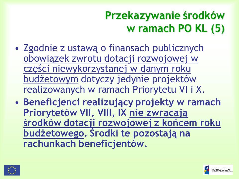 Przekazywanie środków w ramach PO KL (5)