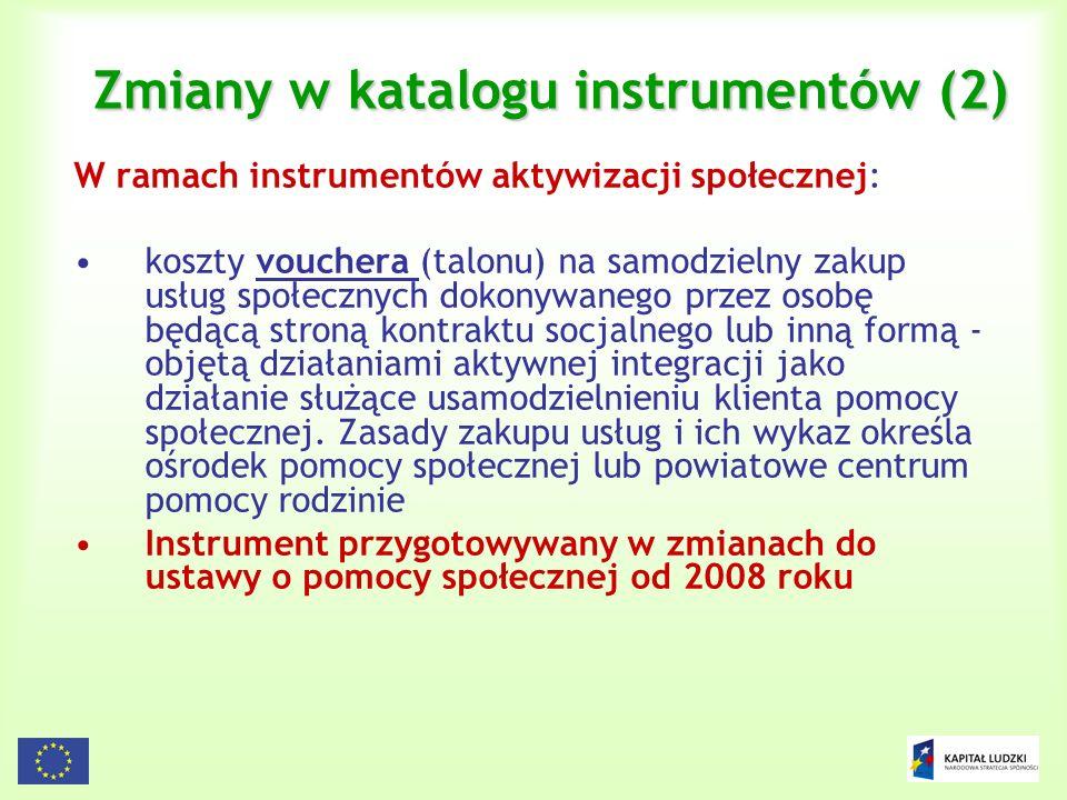Zmiany w katalogu instrumentów (2)