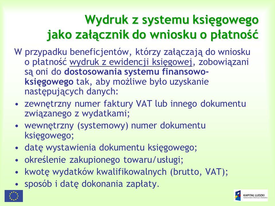 Wydruk z systemu księgowego jako załącznik do wniosku o płatność