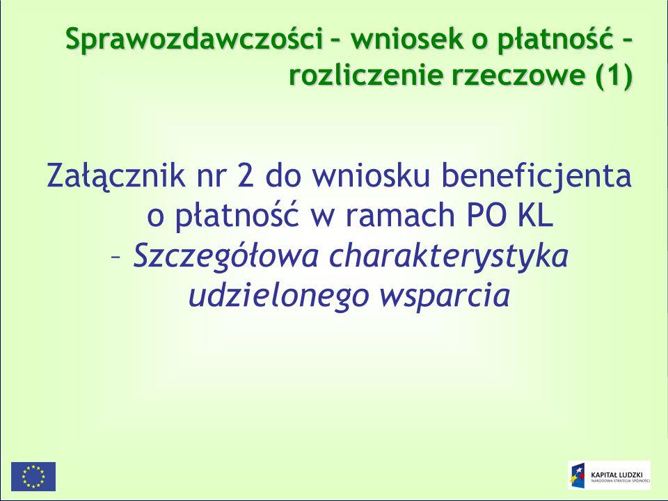 Załącznik nr 2 do wniosku beneficjenta o płatność w ramach PO KL