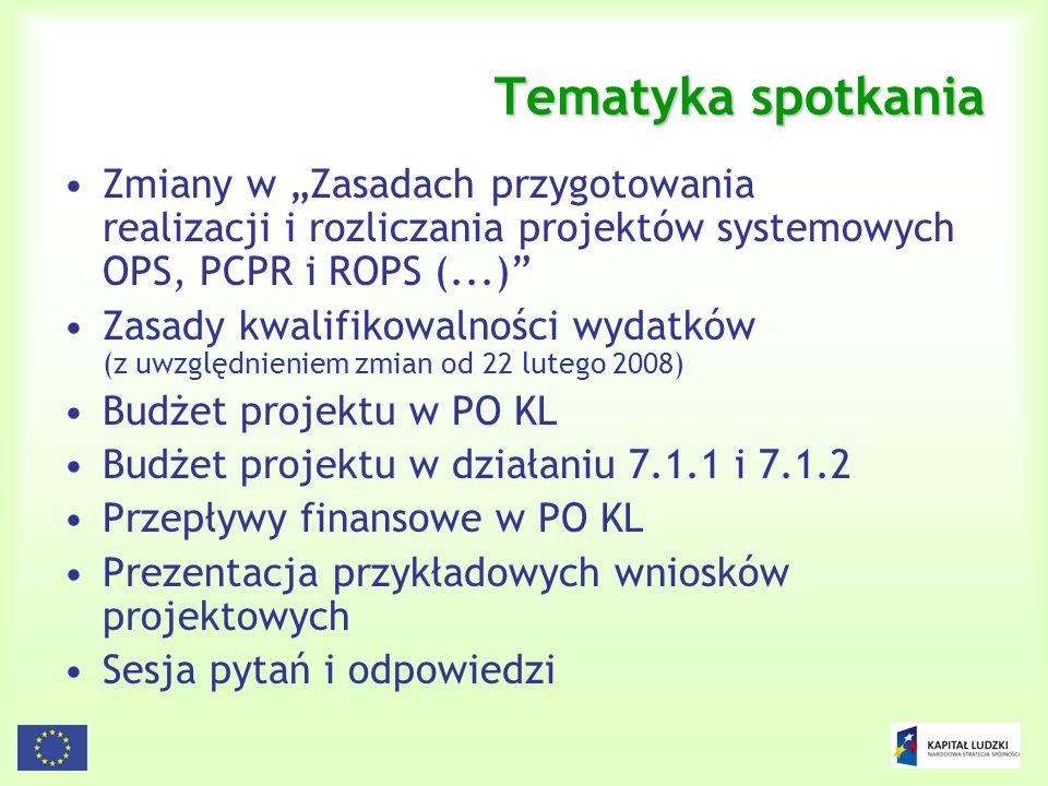 """Tematyka spotkania Zmiany w """"Zasadach przygotowania realizacji i rozliczania projektów systemowych OPS, PCPR i ROPS (...)"""