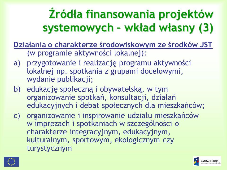 Źródła finansowania projektów systemowych – wkład własny (3)