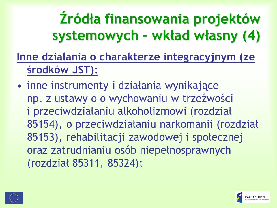 Źródła finansowania projektów systemowych – wkład własny (4)
