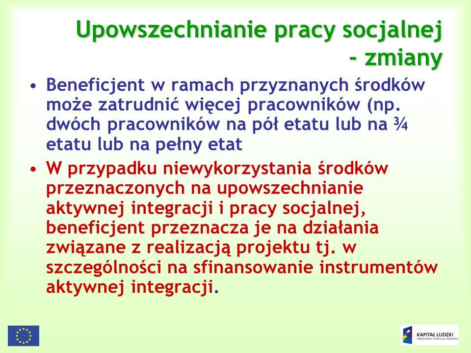 Upowszechnianie pracy socjalnej - zmiany