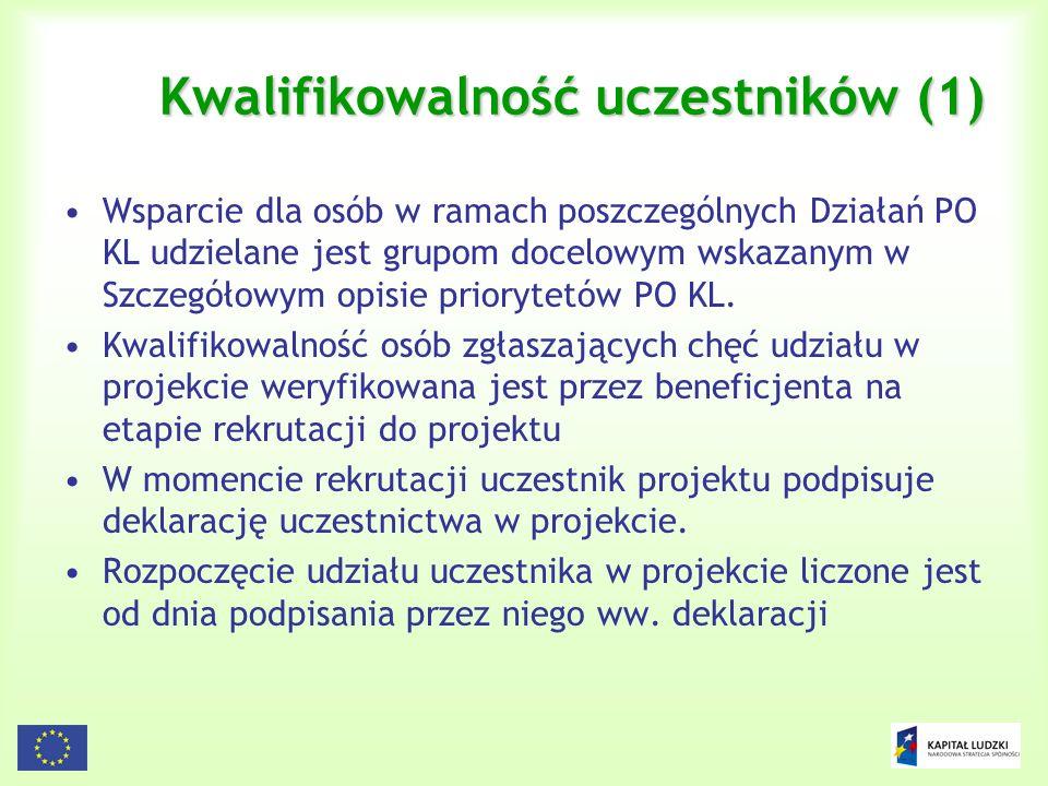Kwalifikowalność uczestników (1)