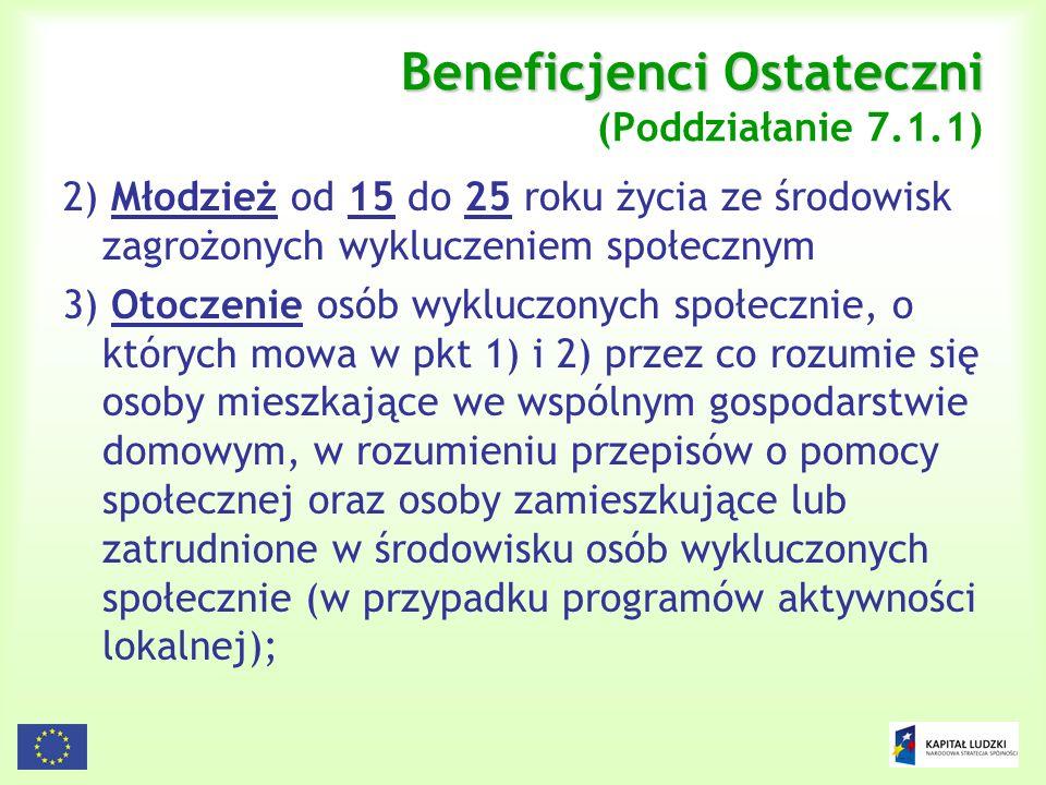 Beneficjenci Ostateczni (Poddziałanie 7.1.1)
