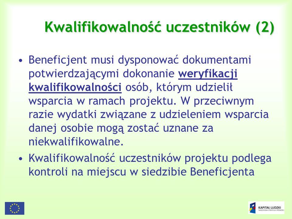 Kwalifikowalność uczestników (2)