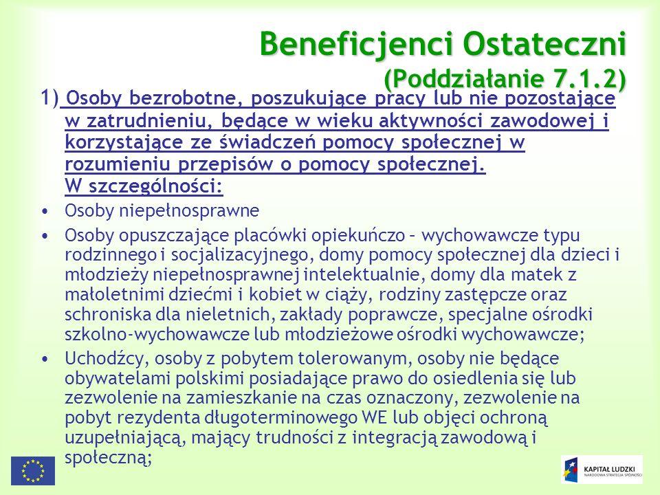 Beneficjenci Ostateczni (Poddziałanie 7.1.2)