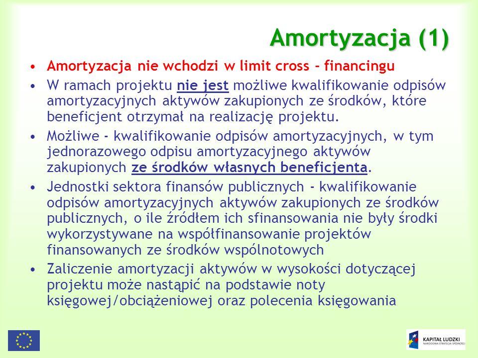 Amortyzacja (1) Amortyzacja nie wchodzi w limit cross - financingu