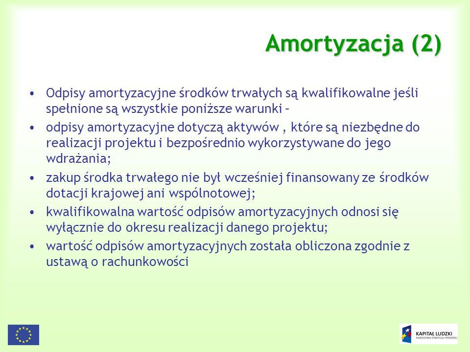 Amortyzacja (2) Odpisy amortyzacyjne środków trwałych są kwalifikowalne jeśli spełnione są wszystkie poniższe warunki –