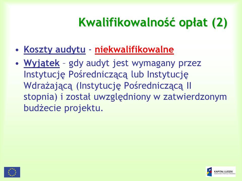 Kwalifikowalność opłat (2)