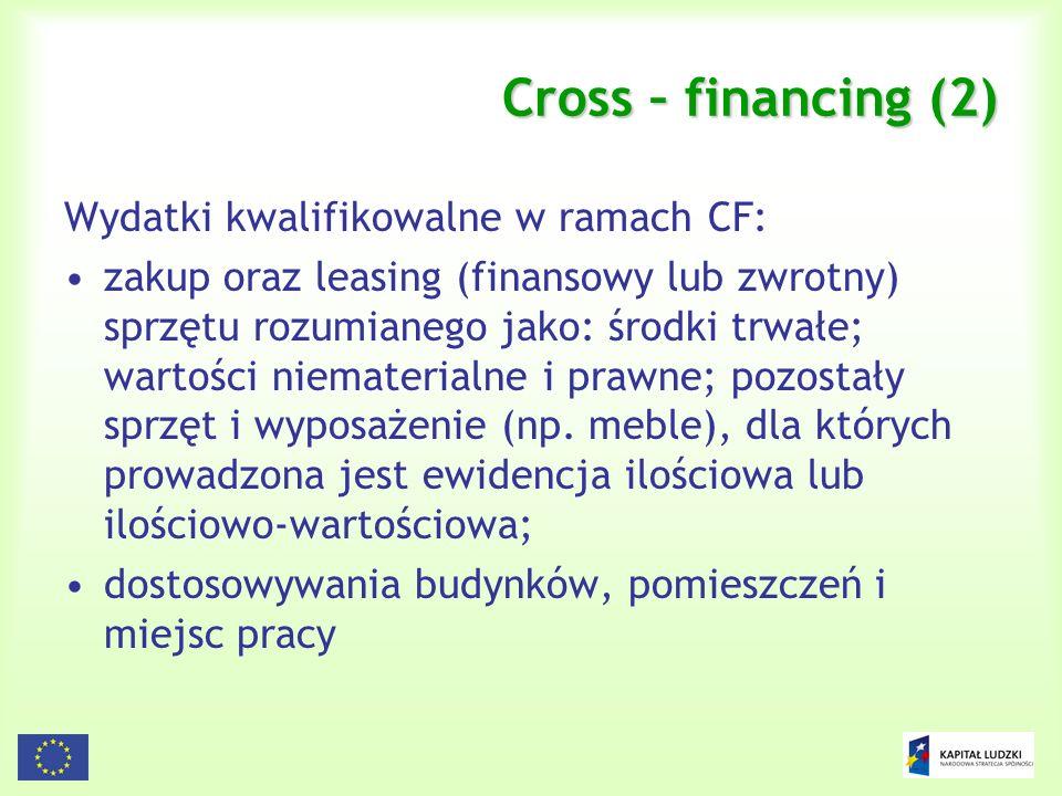 Cross – financing (2) Wydatki kwalifikowalne w ramach CF: