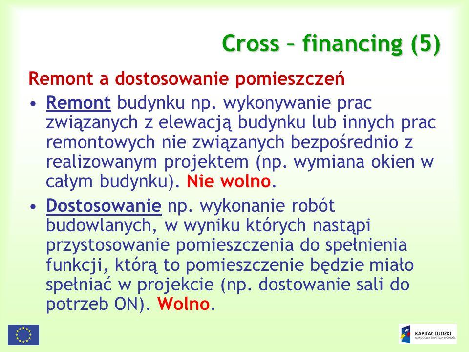 Cross – financing (5) Remont a dostosowanie pomieszczeń