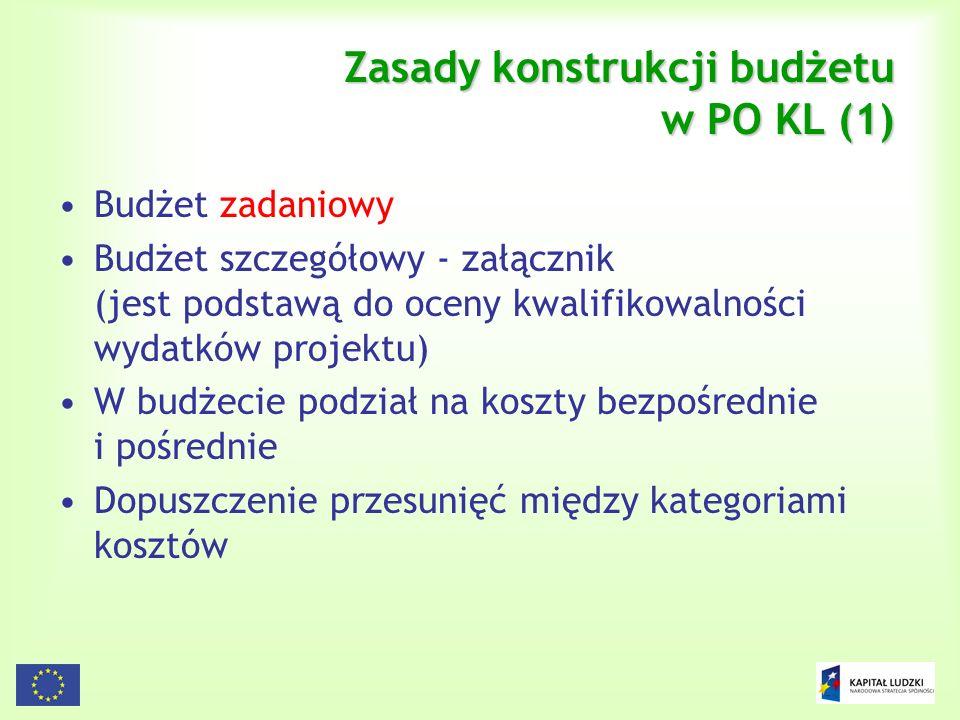 Zasady konstrukcji budżetu w PO KL (1)