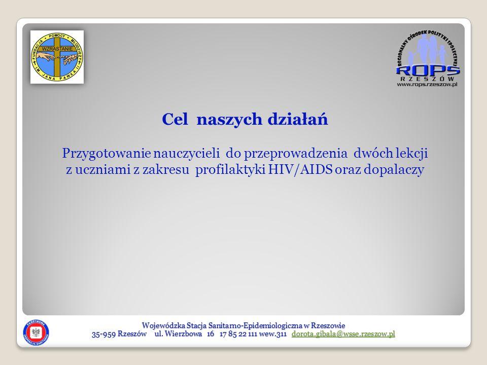 Cel naszych działań Przygotowanie nauczycieli do przeprowadzenia dwóch lekcji. z uczniami z zakresu profilaktyki HIV/AIDS oraz dopalaczy.