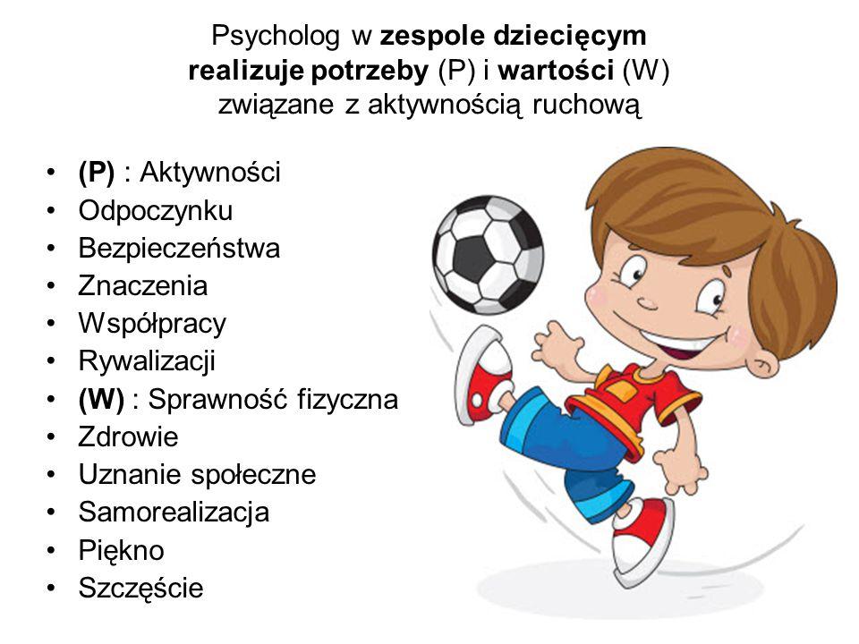 Psycholog w zespole dziecięcym realizuje potrzeby (P) i wartości (W) związane z aktywnością ruchową