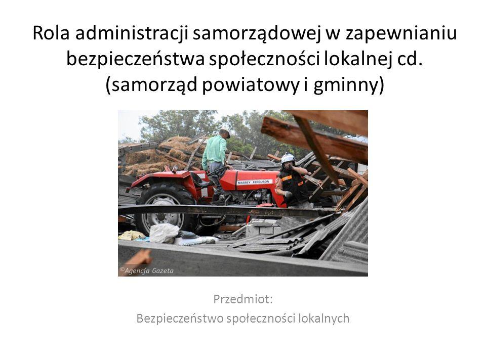 Przedmiot: Bezpieczeństwo społeczności lokalnych