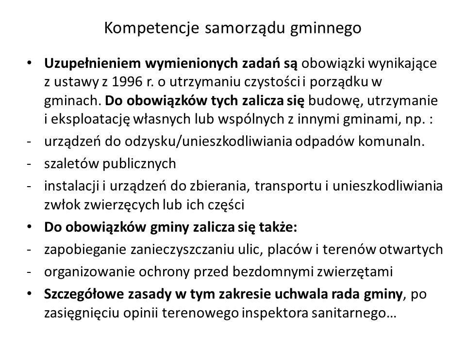 Kompetencje samorządu gminnego