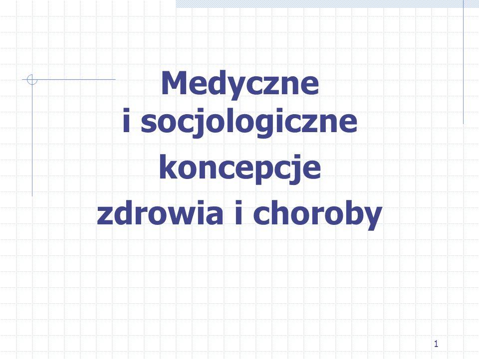 Medyczne i socjologiczne koncepcje zdrowia i choroby