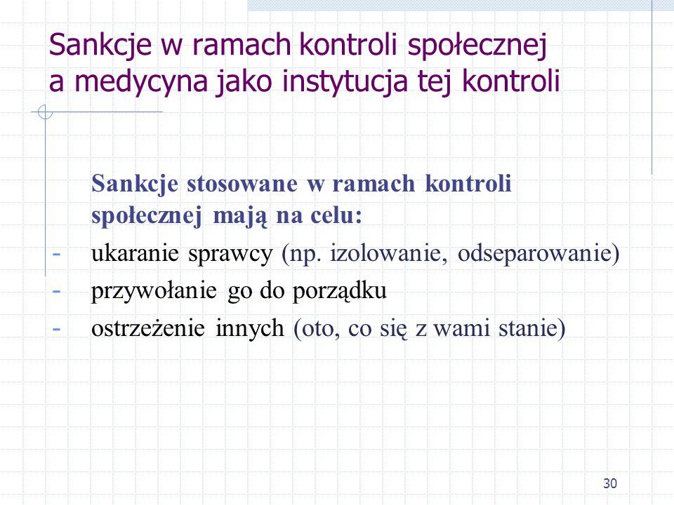 Sankcje w ramach kontroli społecznej a medycyna jako instytucja tej kontroli