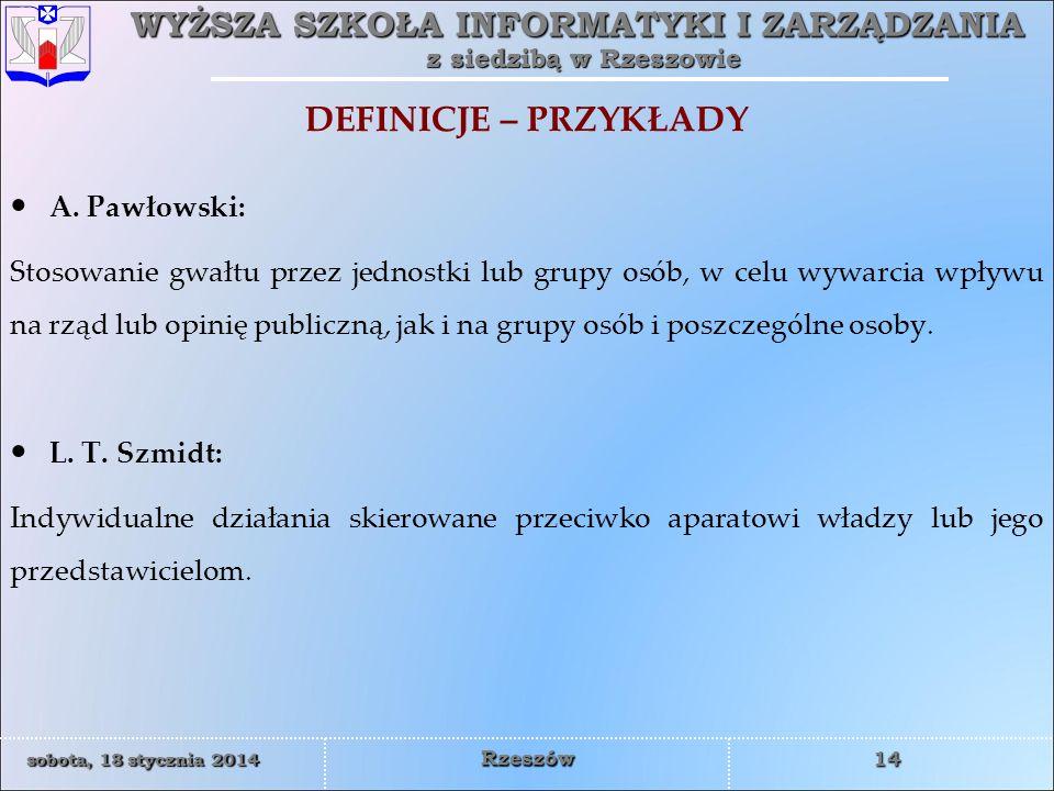 DEFINICJE – PRZYKŁADY A. Pawłowski: