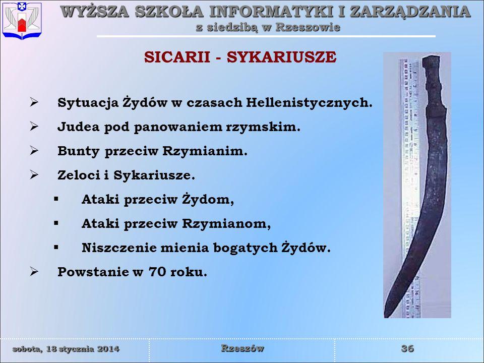 SICARII - SYKARIUSZE Sytuacja Żydów w czasach Hellenistycznych.