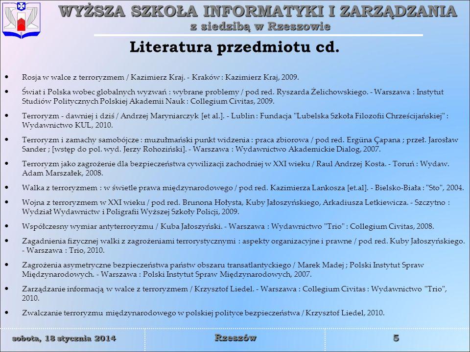 Literatura przedmiotu cd.