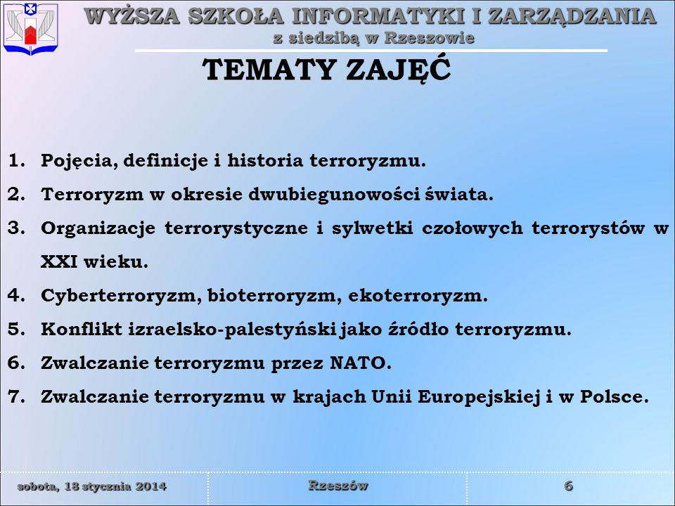 TEMATY ZAJĘĆ Pojęcia, definicje i historia terroryzmu.