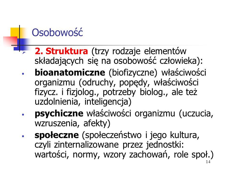 Osobowość 2. Struktura (trzy rodzaje elementów składających się na osobowość człowieka):