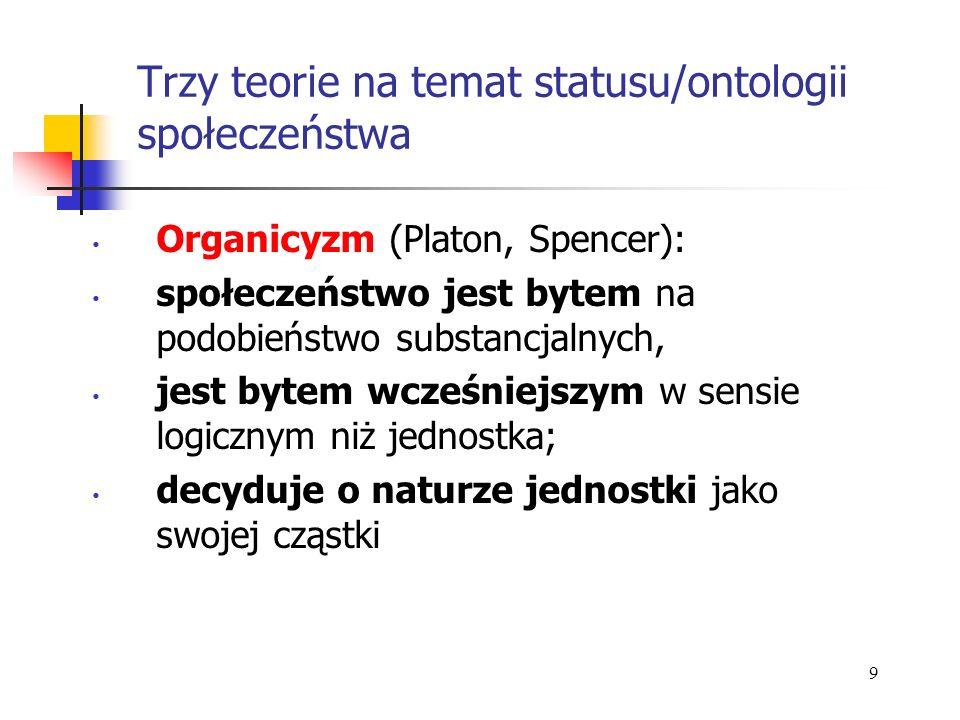 Trzy teorie na temat statusu/ontologii społeczeństwa