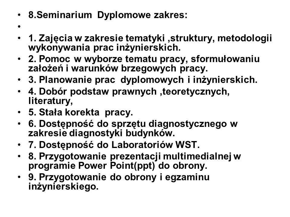 8.Seminarium Dyplomowe zakres: