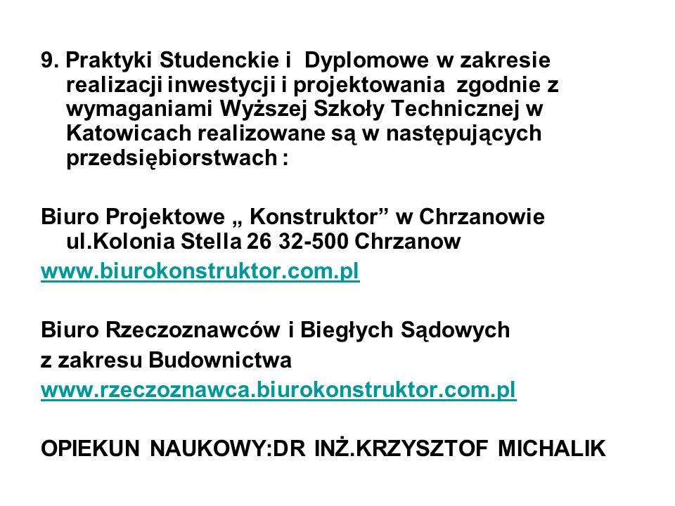 9. Praktyki Studenckie i Dyplomowe w zakresie realizacji inwestycji i projektowania zgodnie z wymaganiami Wyższej Szkoły Technicznej w Katowicach realizowane są w następujących przedsiębiorstwach :