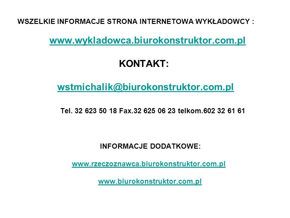 www.wykladowca.biurokonstruktor.com.pl KONTAKT: