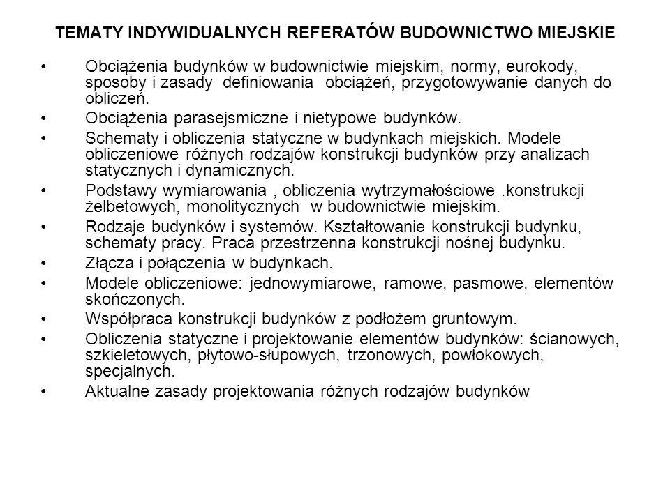 TEMATY INDYWIDUALNYCH REFERATÓW BUDOWNICTWO MIEJSKIE
