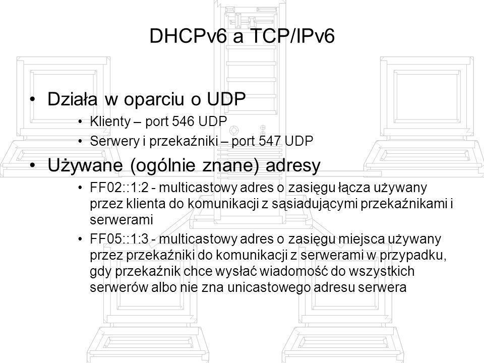 DHCPv6 a TCP/IPv6 Działa w oparciu o UDP
