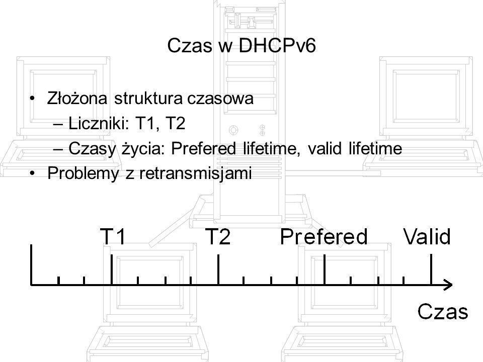 Czas w DHCPv6 Złożona struktura czasowa Liczniki: T1, T2