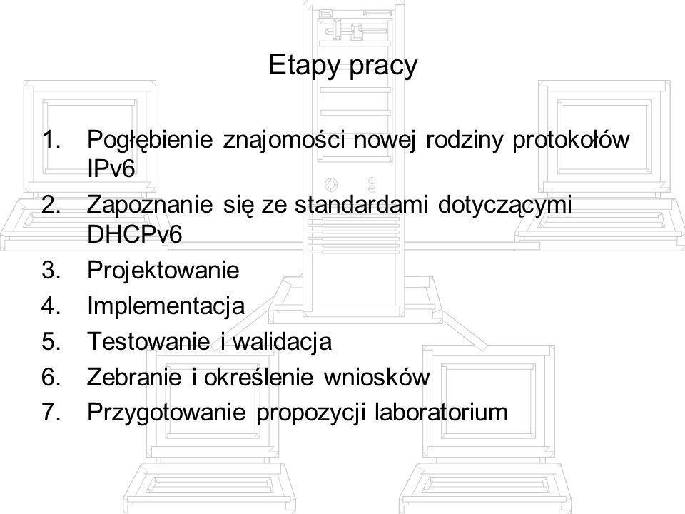 Etapy pracy Pogłębienie znajomości nowej rodziny protokołów IPv6