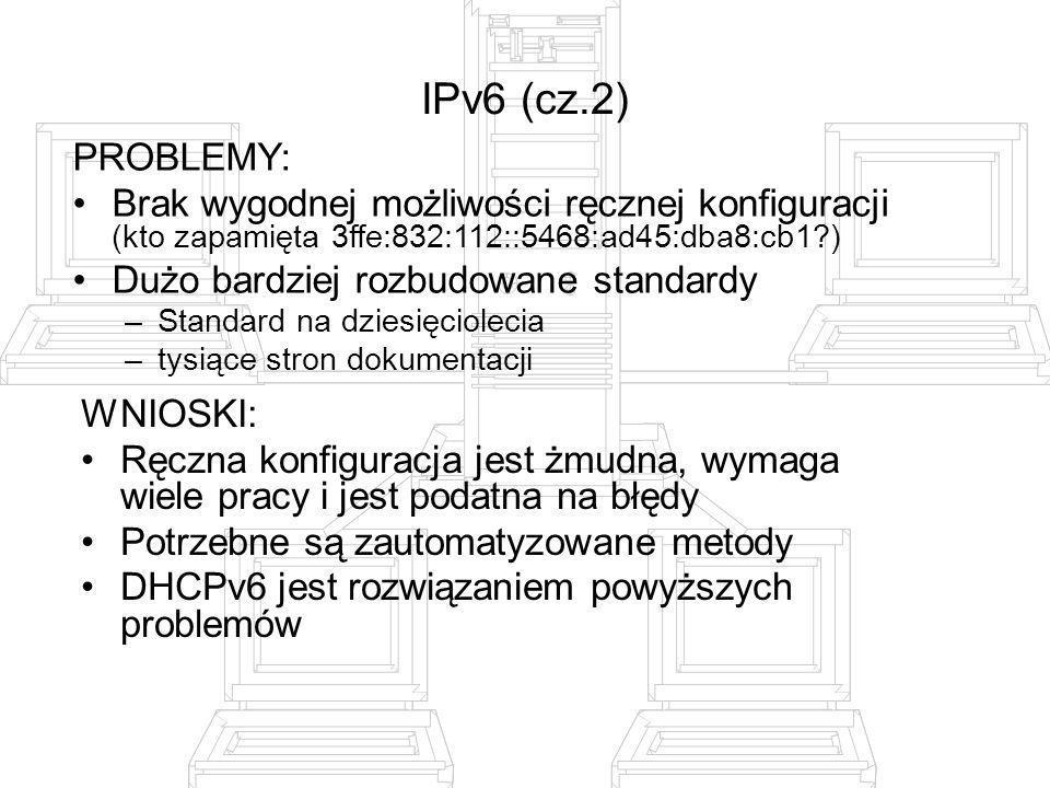 IPv6 (cz.2) PROBLEMY: Brak wygodnej możliwości ręcznej konfiguracji (kto zapamięta 3ffe:832:112::5468:ad45:dba8:cb1 )