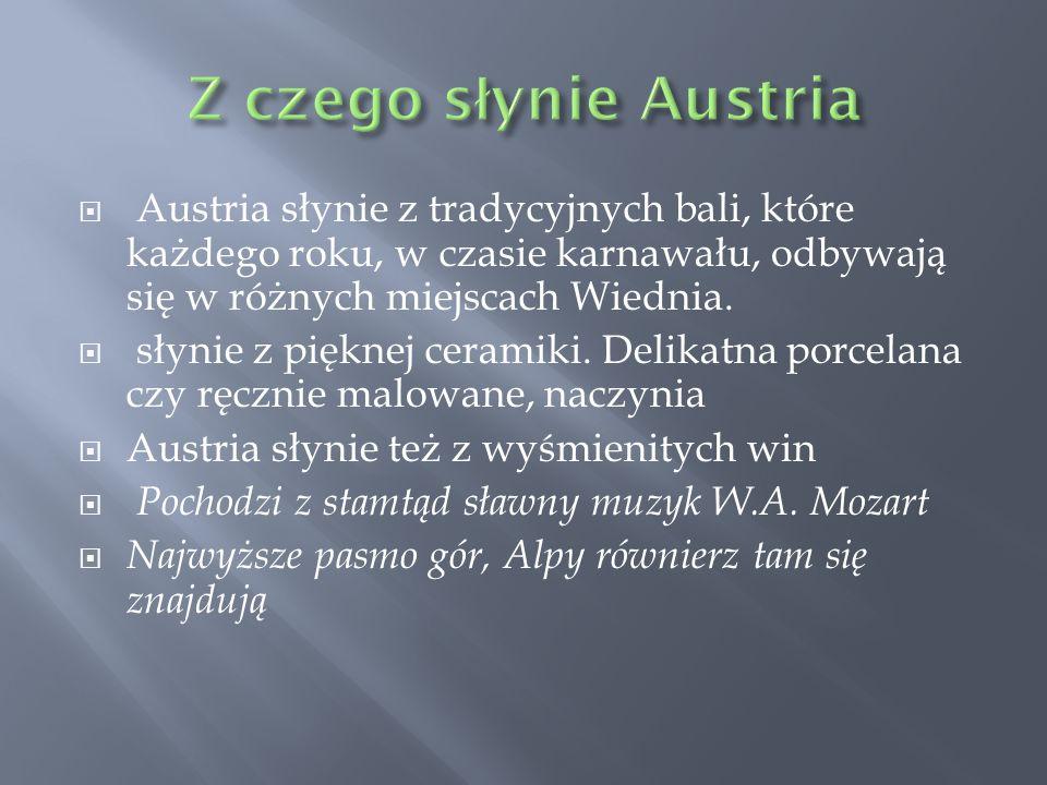 Z czego słynie Austria Austria słynie z tradycyjnych bali, które każdego roku, w czasie karnawału, odbywają się w różnych miejscach Wiednia.