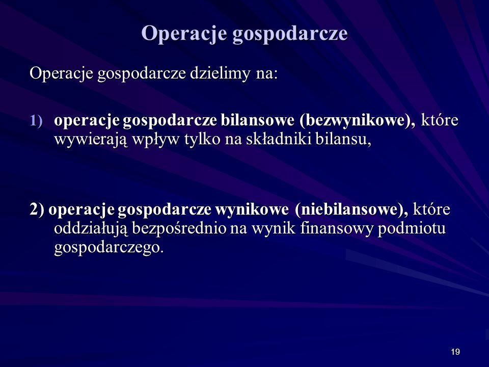Operacje gospodarcze Operacje gospodarcze dzielimy na: