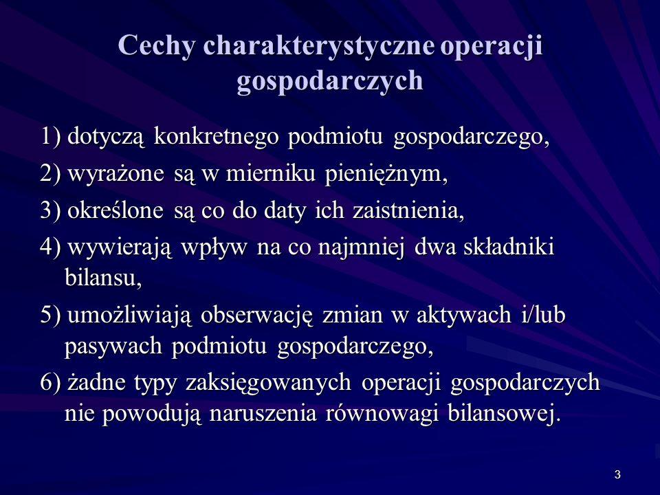 Cechy charakterystyczne operacji gospodarczych