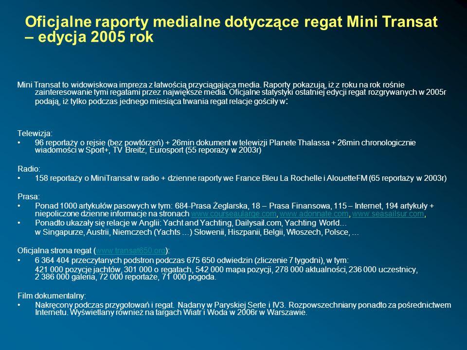 Oficjalne raporty medialne dotyczące regat Mini Transat – edycja 2005 rok