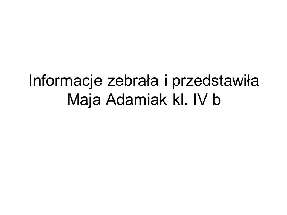 Informacje zebrała i przedstawiła Maja Adamiak kl. IV b