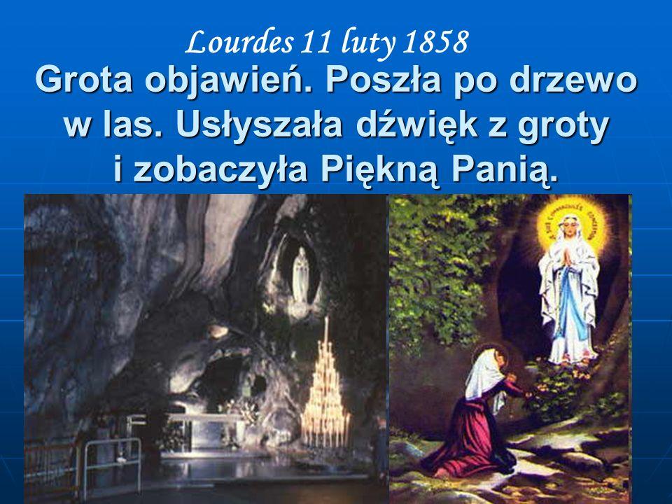Lourdes 11 luty 1858 Grota objawień. Poszła po drzewo w las.