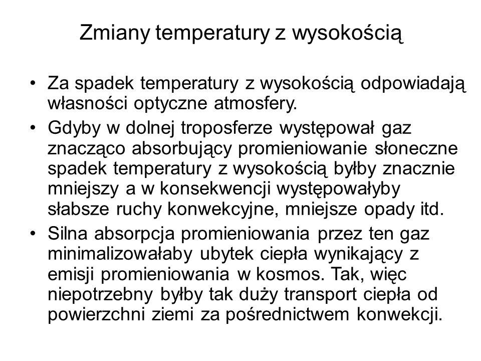 Zmiany temperatury z wysokością