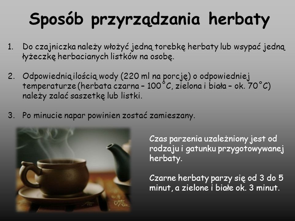 Sposób przyrządzania herbaty