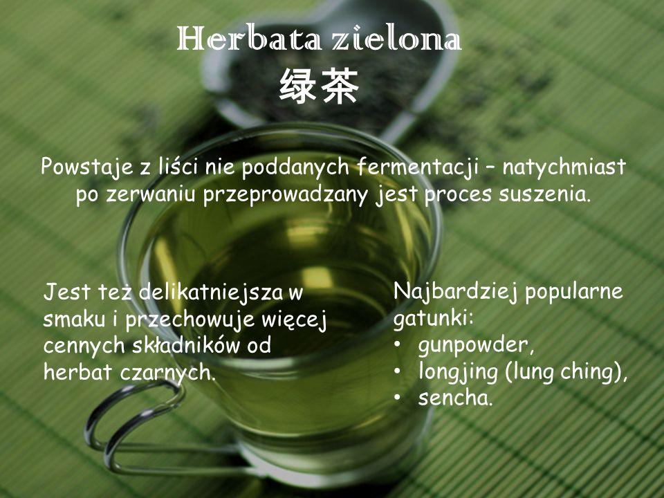 Herbata zielona 绿茶 Powstaje z liści nie poddanych fermentacji – natychmiast po zerwaniu przeprowadzany jest proces suszenia.