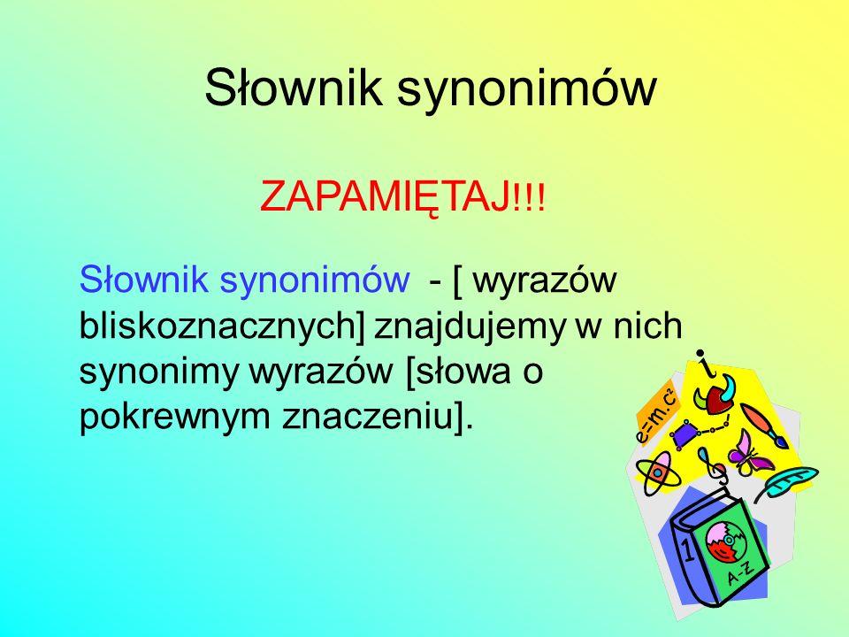 Słownik synonimów ZAPAMIĘTAJ!!!